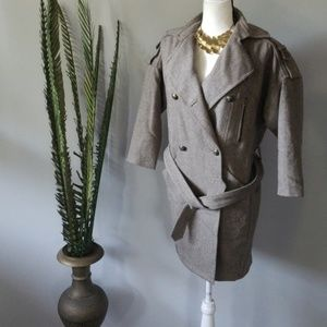 7 For All Mankind belted tweed trench coat